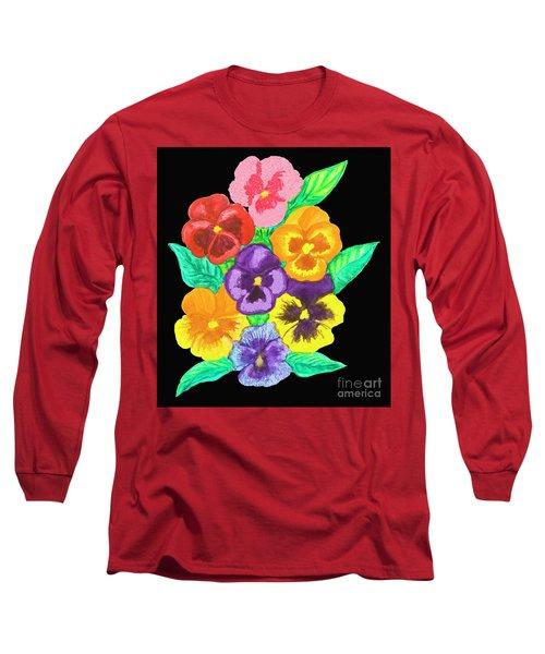Pansies On Black Long Sleeve T-Shirt