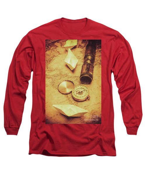 Paper Cargo Boats And Shipping Routes Long Sleeve T-Shirt