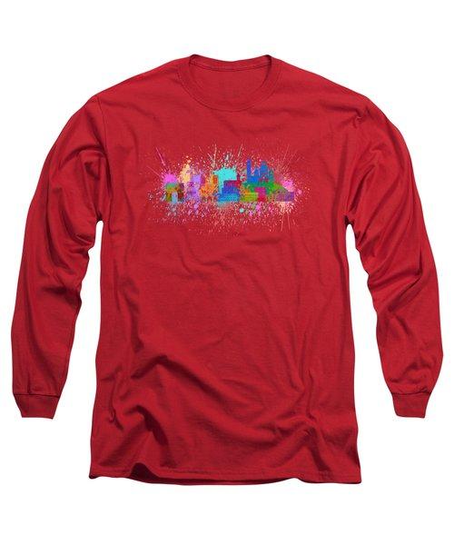 Paris Skyline Paint Splatter Color Illustration Long Sleeve T-Shirt