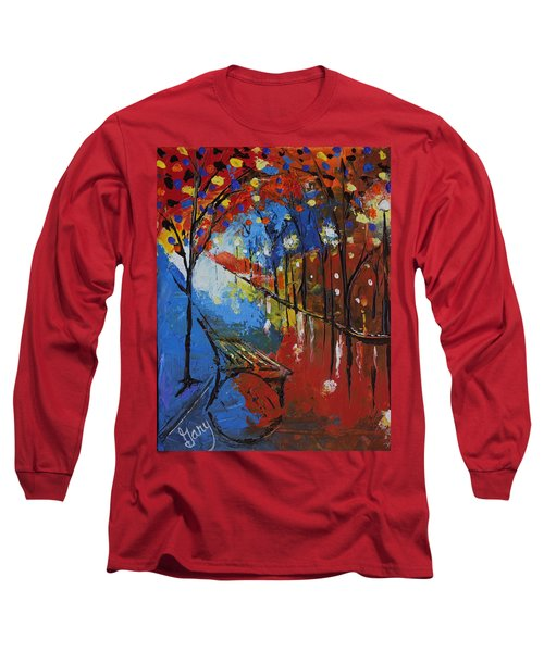 Park Bench Long Sleeve T-Shirt by Gary Smith