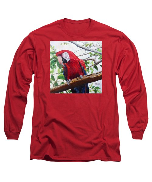 Parrot Portrait Long Sleeve T-Shirt by Marilyn  McNish