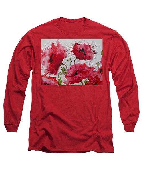 Party Poppies Long Sleeve T-Shirt by Karen Kennedy Chatham