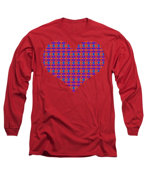 Patterned Art Heart In Blue And Red Long Sleeve T-Shirt
