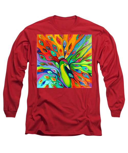 Long Sleeve T-Shirt featuring the painting Peacock On The 4th Of July by Alison Caltrider