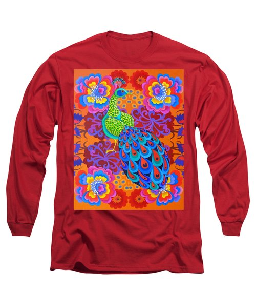 Peacock With Flowers Long Sleeve T-Shirt