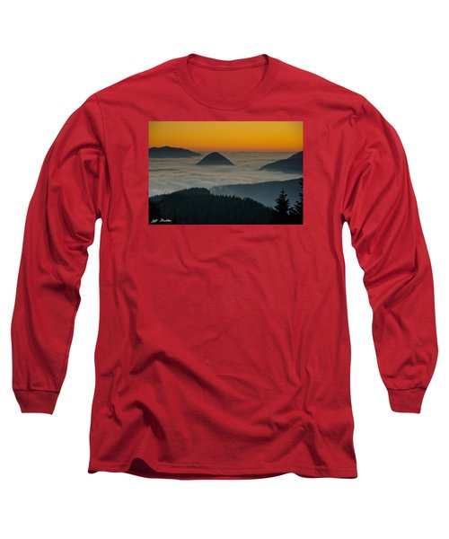 Peaks Above The Fog At Sunset Long Sleeve T-Shirt by Jeff Goulden