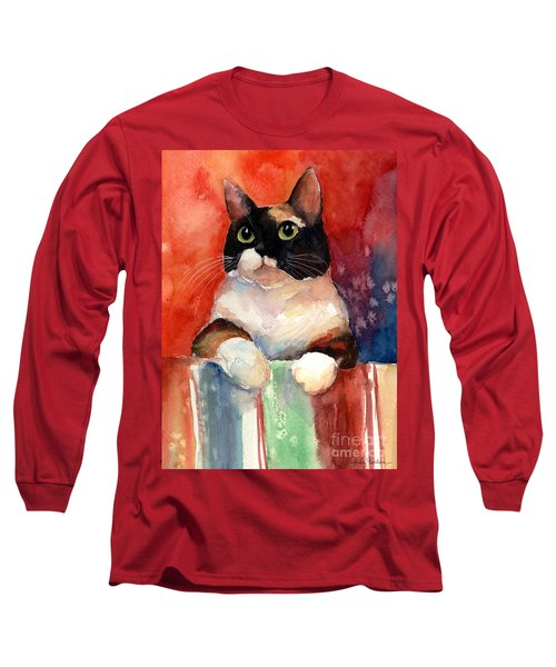 Pensive Calico Tubby Cat Watercolor Painting Long Sleeve T-Shirt