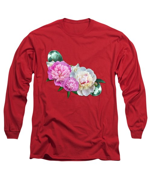 Peonies In Pink And Blue Long Sleeve T-Shirt