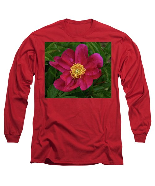 Long Sleeve T-Shirt featuring the photograph Peony In Rain by Sandy Keeton