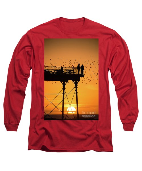 People On The Pier Sunset And Starlings In Aberystwyth Wales Long Sleeve T-Shirt