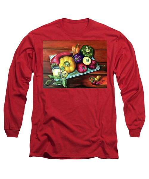 Peppers And A Turquoise Tray Long Sleeve T-Shirt