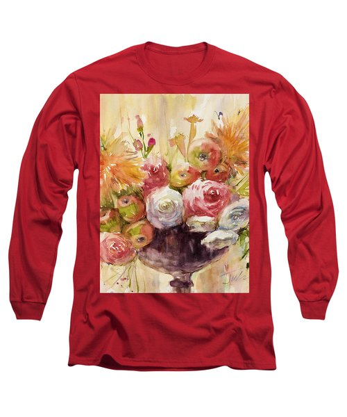 Petite Apples In Floral Long Sleeve T-Shirt by Judith Levins