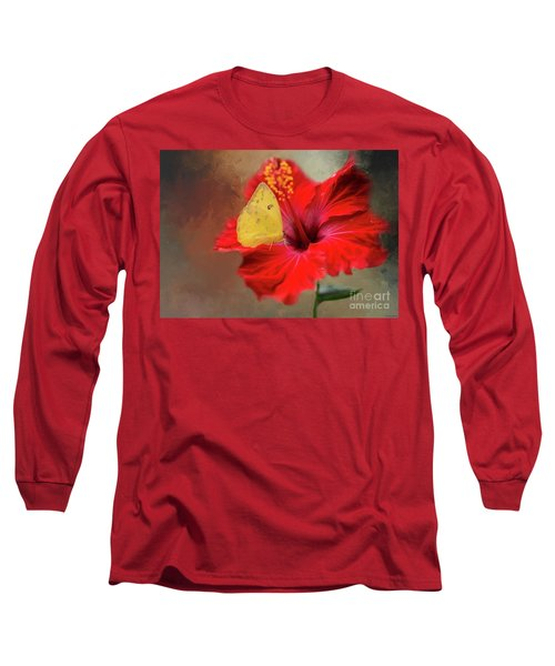 Phoebis Philea On A Hibiscus Long Sleeve T-Shirt by Eva Lechner
