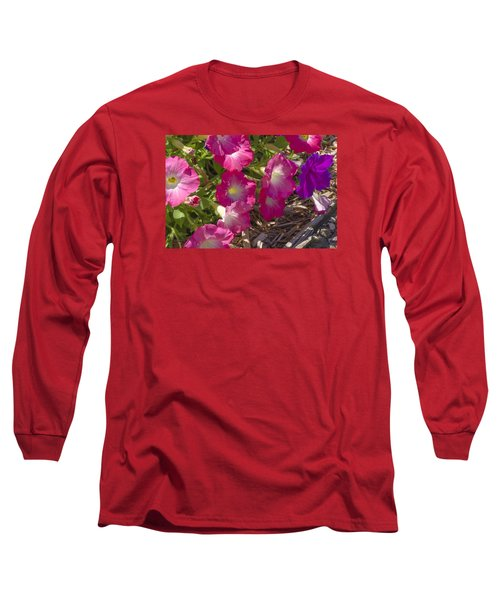 Pink And Purple Petunias Long Sleeve T-Shirt
