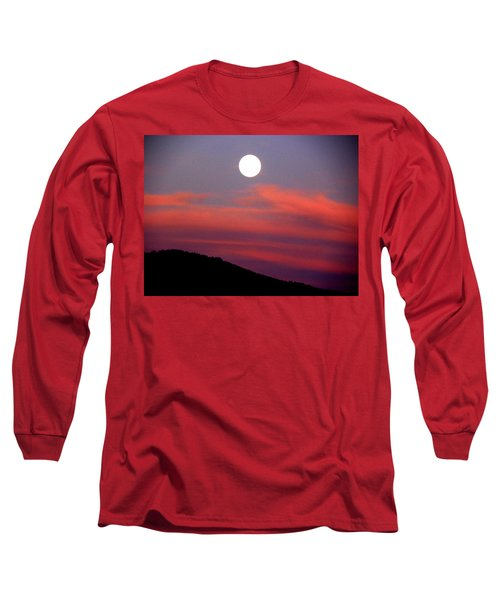 Pink Clouds With Moon Long Sleeve T-Shirt by Joseph Frank Baraba