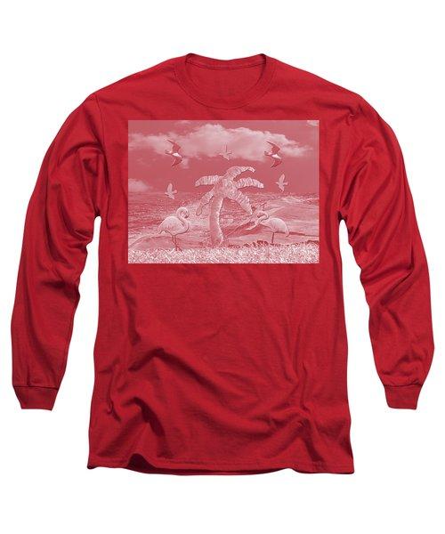 Pink Flamingo's Palms Long Sleeve T-Shirt