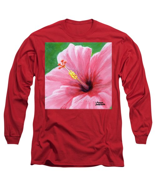 Pink Hibiscus Long Sleeve T-Shirt