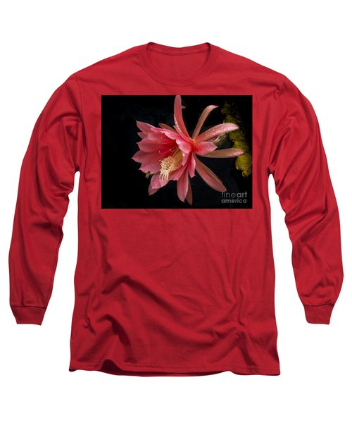 Pink Orchid Cactus Flower Long Sleeve T-Shirt by Inge Riis McDonald
