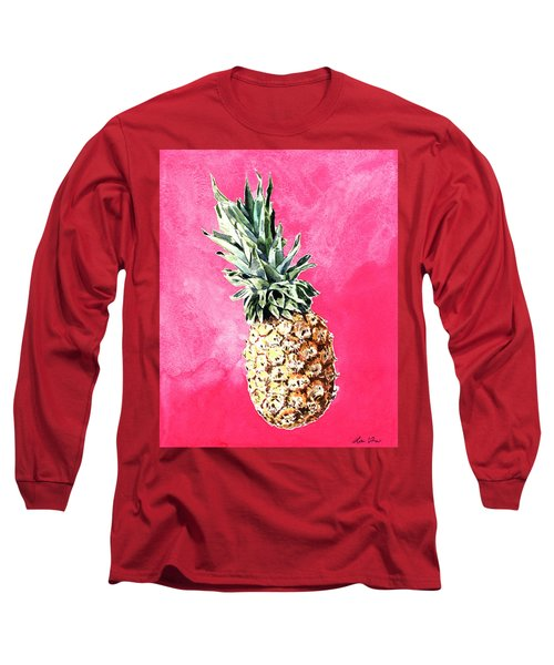 Pink Pineapple Bright Fruit Still Life Healthy Living Yoga Inspiration Tropical Island Kawaii Cute Long Sleeve T-Shirt