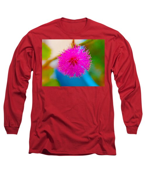Pink Puff Flower Long Sleeve T-Shirt by Samantha Thome