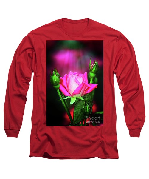 Pink Rose Long Sleeve T-Shirt by Inspirational Photo Creations Audrey Woods