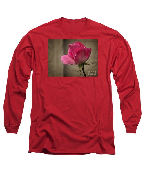 Long Sleeve T-Shirt featuring the photograph Pink Rose by Inge Riis McDonald