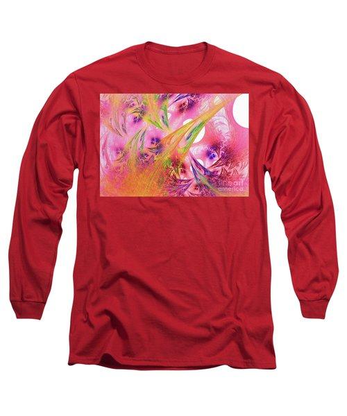 Long Sleeve T-Shirt featuring the digital art Pink Web by Deborah Benoit