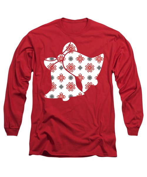 Pixel Christmas Pattern Long Sleeve T-Shirt