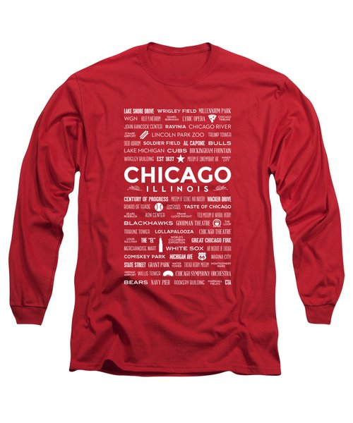 Long Sleeve T-Shirt featuring the digital art Places Of Chicago On Red Chalkboard by Christopher Arndt
