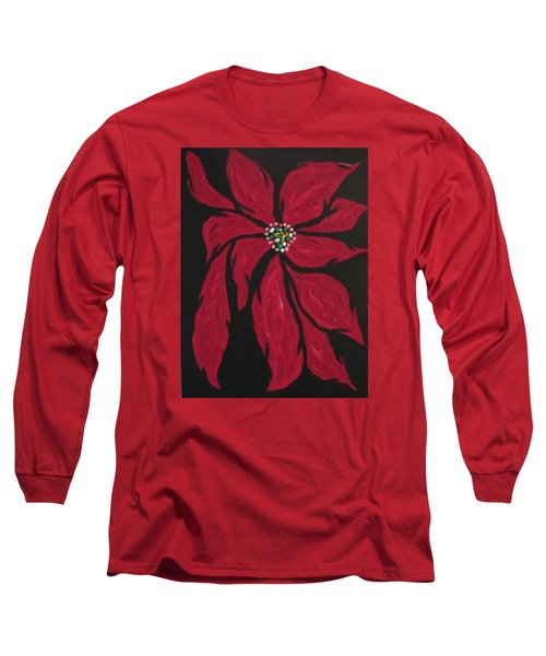 Long Sleeve T-Shirt featuring the painting Poinsettia - The Season by Sharyn Winters