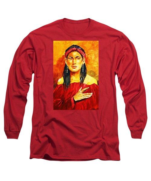 Poised In Scarlet Garment Long Sleeve T-Shirt