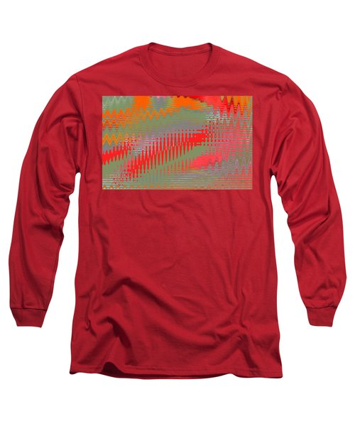 Long Sleeve T-Shirt featuring the digital art Pond Abstract - Summer Colors by Ben and Raisa Gertsberg