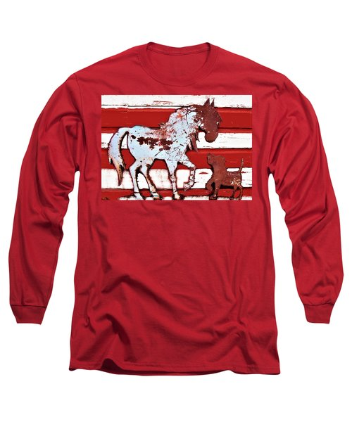 Pony And Pup Long Sleeve T-Shirt by Larry Campbell