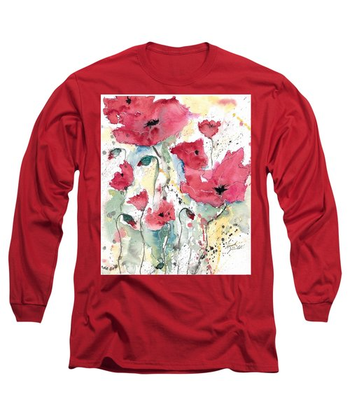 Long Sleeve T-Shirt featuring the painting Poppies 10 by Ismeta Gruenwald