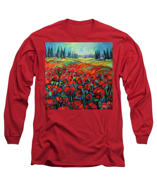 Poppies And Cypresses - Modern Impressionist Palette Knives Oil Painting Long Sleeve T-Shirt