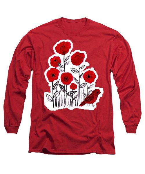 Poppies And Little Red Bird Watercolor Pop-art Long Sleeve T-Shirt