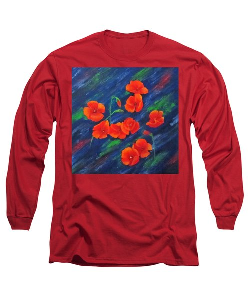 Long Sleeve T-Shirt featuring the painting Poppies In Abstract by Roseann Gilmore