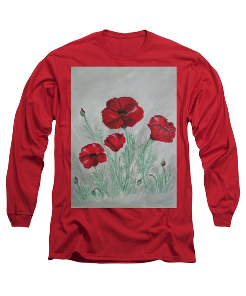 Poppies In The Mist Long Sleeve T-Shirt by Sharyn Winters