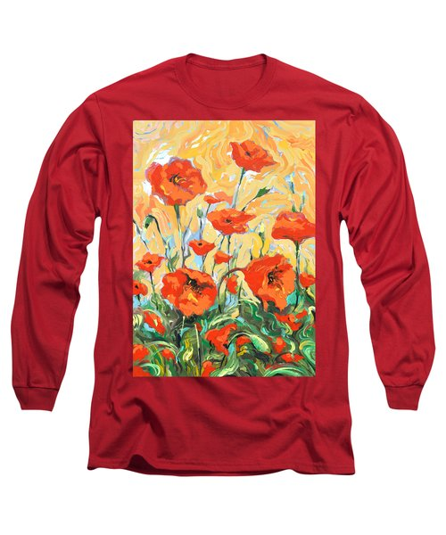 Poppies On A Yellow            Long Sleeve T-Shirt by Dmitry Spiros