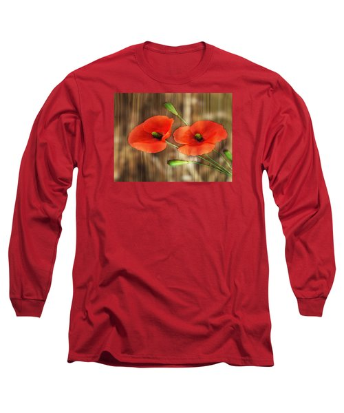 Poppies On Barnwood Long Sleeve T-Shirt