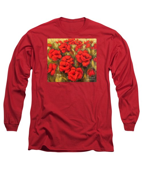 Long Sleeve T-Shirt featuring the painting Poppies Passion Fragment by Inese Poga