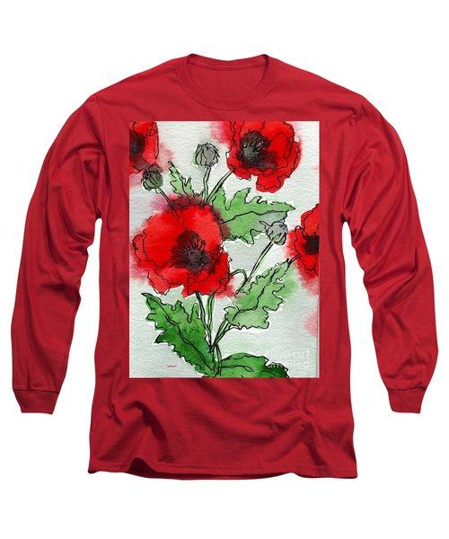 Watercolor Poppies Long Sleeve T-Shirt