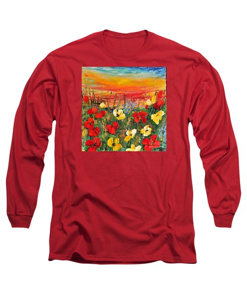 Long Sleeve T-Shirt featuring the painting Poppies by Teresa Wegrzyn