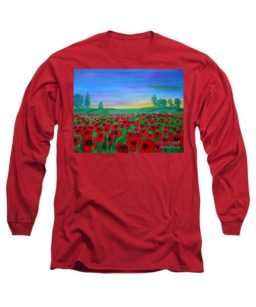 Poppy Field At Sunset Long Sleeve T-Shirt