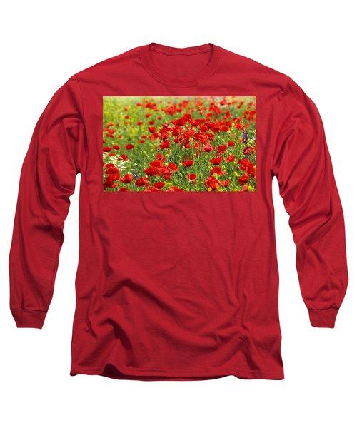 Poppy Field Long Sleeve T-Shirt by Thomas M Pikolin