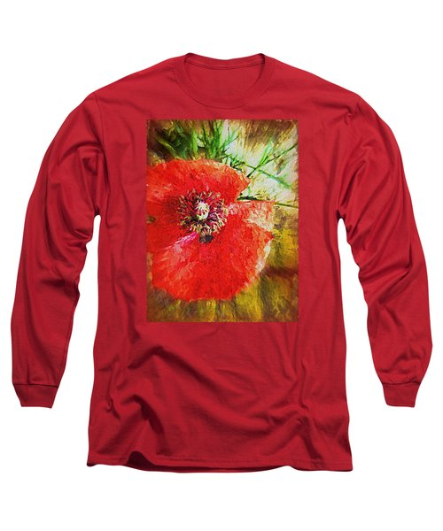 Long Sleeve T-Shirt featuring the photograph Poppy Variation Too by Kathy Bassett