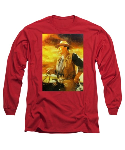 Portrait Of John Wayne Long Sleeve T-Shirt by Charmaine Zoe