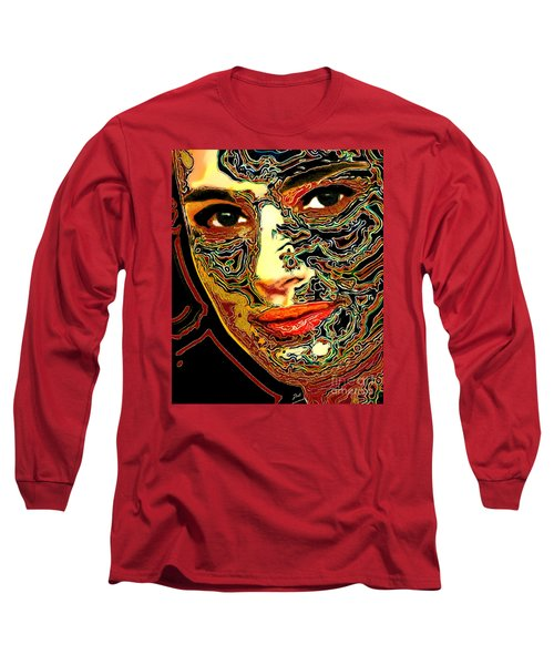 Portrait Of Natalie Portman Long Sleeve T-Shirt by Zedi