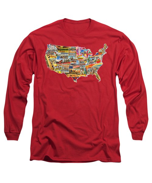 Postcards Of The United States Vintage Usa Lower 48 Map Choose Your Own Background Long Sleeve T-Shirt