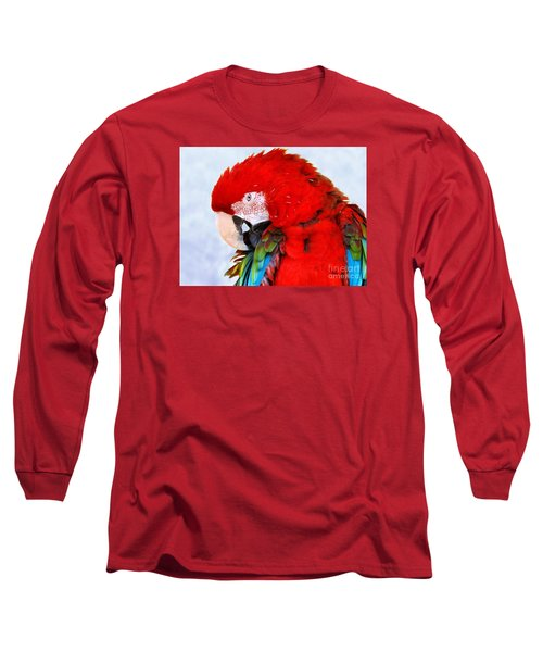 Preening Macaw Long Sleeve T-Shirt by Debbie Stahre